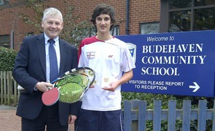 Racketlon Success; Alistair with Headteacher David Barton