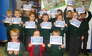 Bude Infants School with their Certificates